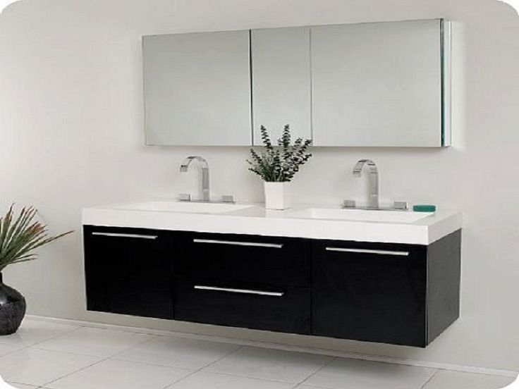 Enjoy With Exclusive Bathroom Sink Cabinets: Black Modern Double Sink  Bathroom Vanity Cabinet With Mirror