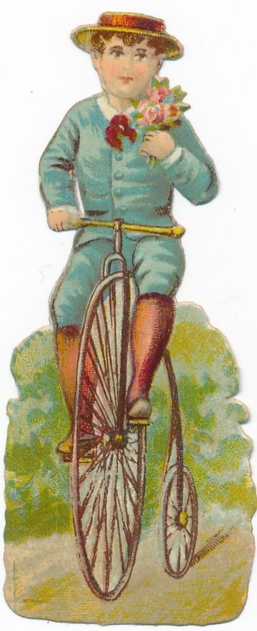 Very  Rare victorian DIE CUT 1890 s bike penny farthing bicycle AW