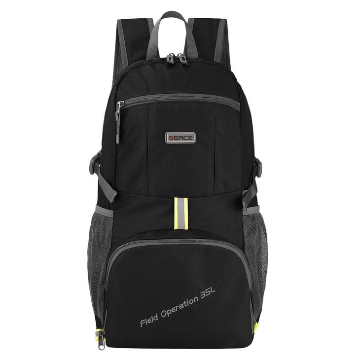 BEACE 35L Packable Lightweight Durable Backpack Water Resistant Foldable Backpack Daypack for Travel Hiking Camping Beach. ORGANIZED: This BEACE 35L Backpack has a roomy main compartment, two front zipper pockets and two side pockets. The main compartment can hold iPad, book, Samsung Tab and other large items. The two The two front zipper pockets can hold purse, keys, powerbank, iPhone7 plus, small notebook. The two side pockets can hold water bottle or umbrella. DURABLE: The Backpack is...