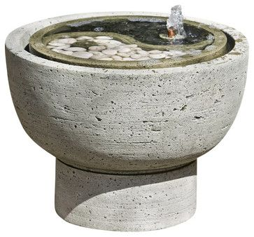 Yin Yang Pot Garden Water Fountain, Brown Stone - traditional - outdoor fountains - Soothing Company