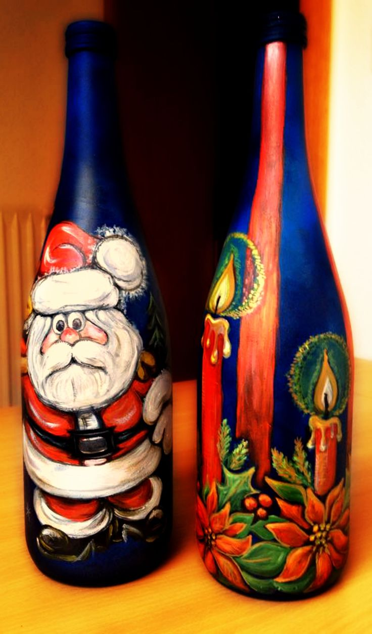 Christmas gifts (decorated bottles of wine) Hand-painted (acrylic paint)