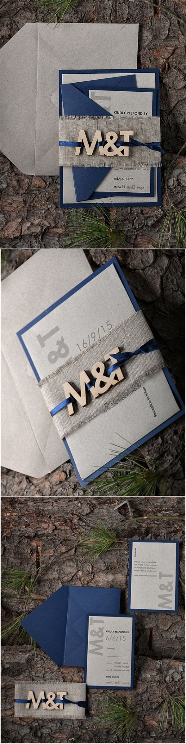 Rustic Navy Wood Laser Cut Wedding Invitation Kits