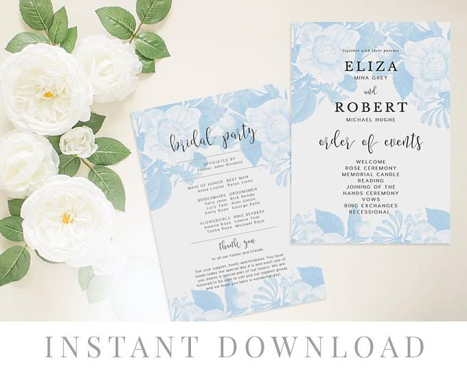 Anemone Templett DIY Wedding Ceremony Paddle Program INSTANT DOWNLOAD Wedding Paddle Program Ivory Program Fan Editable pdf