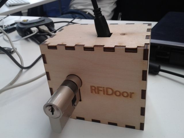 The Arduino RFID lock How does it work? The Arduino RFID lock is a lock that can be opened easily, but is secure. The lock works with a server database that can register card codes. On the door there is a RFID reader connected to the lock. If the RFID reader reads a registered card the door will open. One of the pictures gives a schematic overview of the functionality of the Arduino RFID lock. In this instructable there will be explained how to setup a database, how to connect the...
