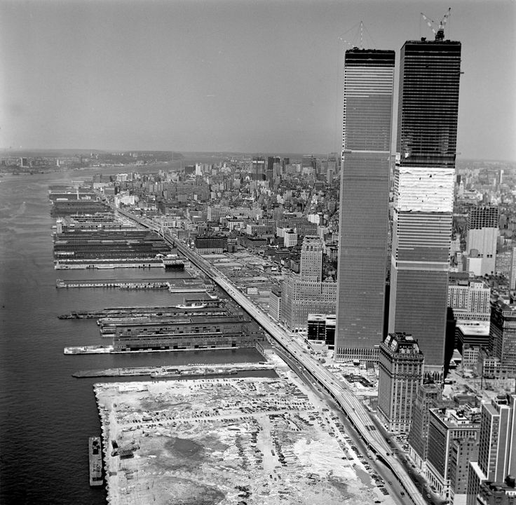 The World Trade Center towers under construction, 1971