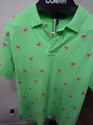 ec358adb165d05 Polo Ralph Lauren Pink Flamingo All Over Print Lime Large Polo Golf