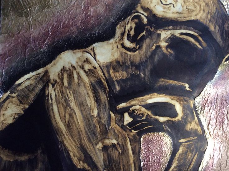 Ink and bleach painting of a sculpture by Auguste Rodin called the thinker. It looks at personality and individuality.