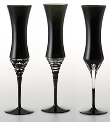 black champagne flutes. I like the one far right. 12 total for a decent gathering.