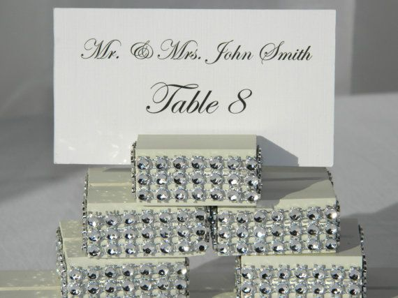 ivory wood wedding place card holders trimmed with a crystal wrapset of 100