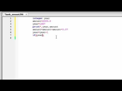Write a FORTRAN program which prints the YEAR and the AMOUNT of the acco...