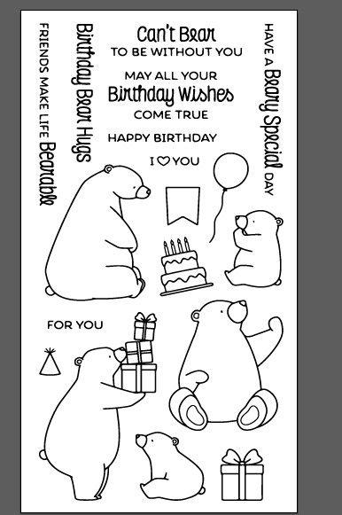 WYF834 Abrazos de Oso del libro de Recuerdos del Álbum de Fotos de Cumpleaños Cuenta Sellos de Caucho de Silicona Transparente Claro 11x20 cm