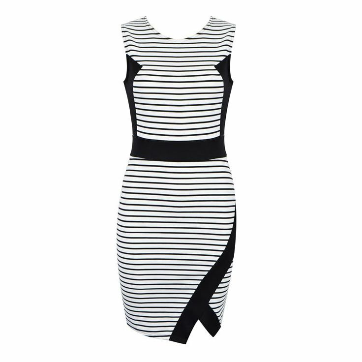 Bodycon dress with assymetrical hem featuring contrast panels.