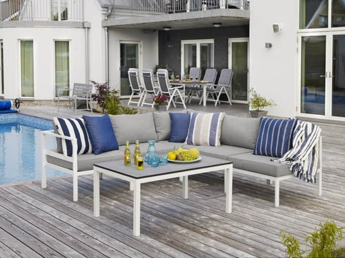Leone soffgrupp – byggbar soffgrupp i vitlackerad aluminium. Utemöbler, trädgårdsmöbler, Outdoor furniture.