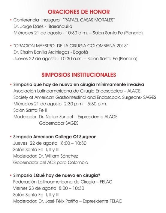 Oraciones de Honor - Simposios Institucionales - Asociación Colombiana de Cirugía