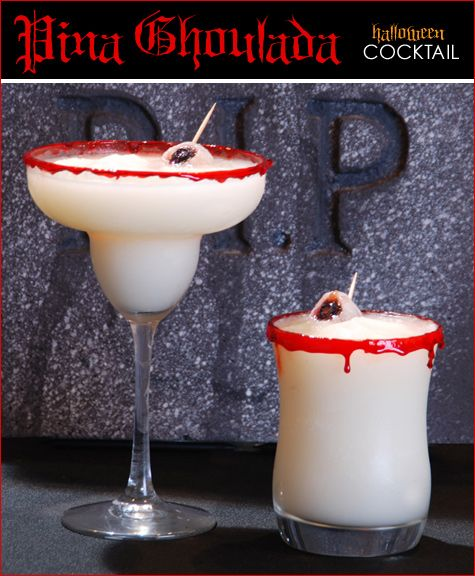 Pina Ghouladas with Speared Eyeball Garnish {click for recipe}: Halloween Cocktails, Halloween Drinks, Halloween Parties Treats, Spears Eyeb, Piña Colada, Drinks Recipes, Halloween Food, Pina Ghoulada, Cocktails Recipes