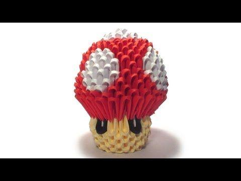 3D origami 1Up mushroom - YouTube