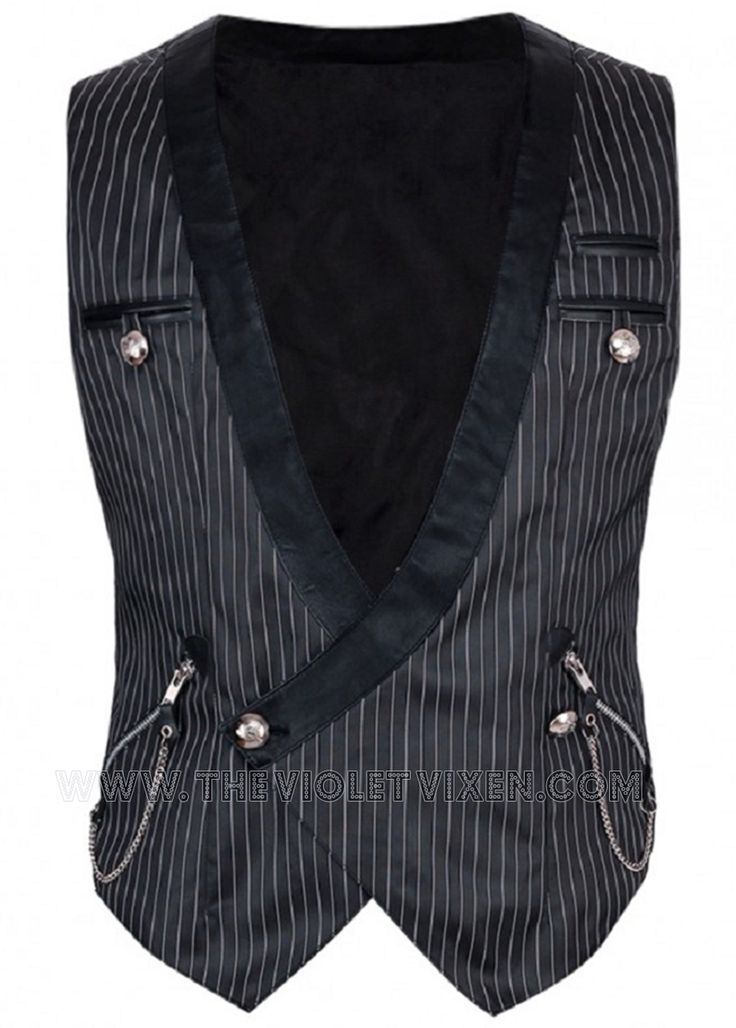 Fantastic pinstripe vest for men! Black lapels, zippered pocket with chain detail, so hot! The Violet Vixen - Baron Von Geist Waist Coat, $124.00 (http://thevioletvixen.com/clothing/mens/waist-coats/baron-von-geist-waist-coat/) steampunk waistcoat goth pinstripe chain zipper mens