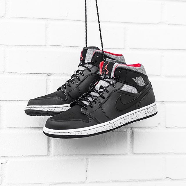 """""""Air Jordan 1 Mid - Black/Grey-Infrared 23 $120 sizes 7.5-14 Available now at all locations. Call 337.806.9615 to order or with any questions. #jordan1…"""""""