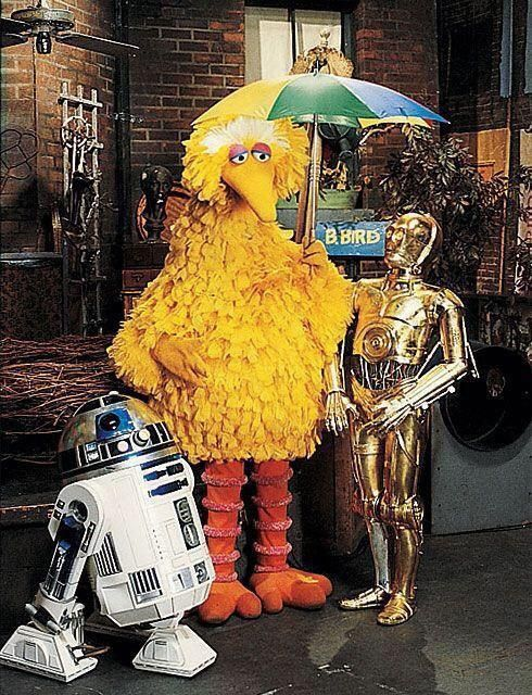 The Star Wars droids R2-D2 and C-3PO visited Sesame Street in two episodes during the show's 11th season. In one clip, R2-D2 falls in love with a fire hydrant, and in another the droids sing a song...