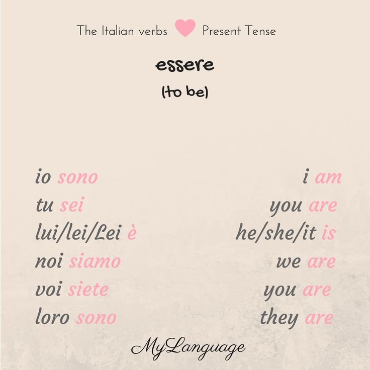 "The present tense of the Italian verbs - ""essere"" - ""to be"" . Learn a new verb every day. Visit www.mylanguage.io for more info"