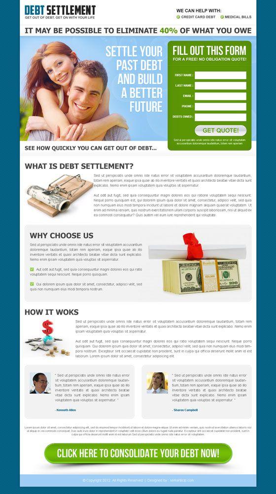 Debt relief landing page design inspiration reduce debt or debt settlement that converts visitor into customer | landing page design conversion