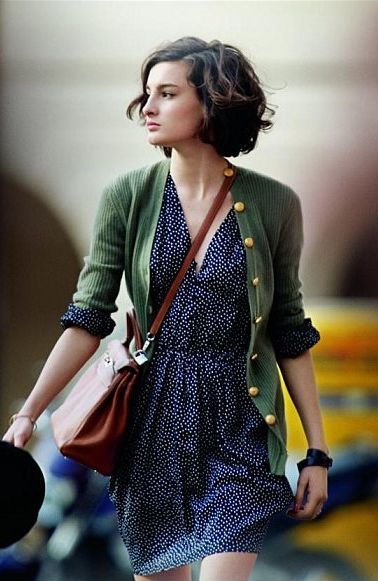 I love her haircut! The Olive Green + Polka Dot outfit is cute too!