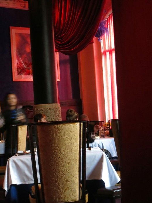 Lili DIning Room Waitress CANON EDITED Red Curtains Paris