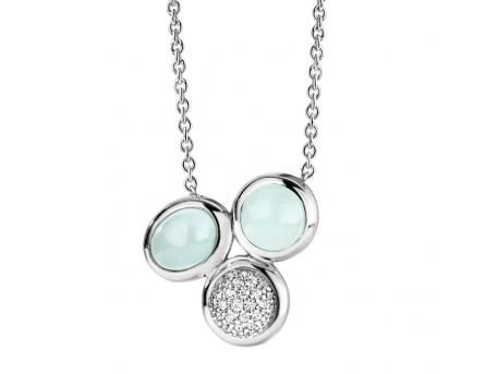 SS Rhodium Plated 3 Stone CZ Mint & Metal Necklace #dickinsonjewelers #meanttosparkle www.dickinsonjewelers.com