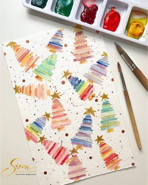 Könnte man dafür eine Baumschablone schneiden … mischbare Stifte? Farbstifte / Bleistifte