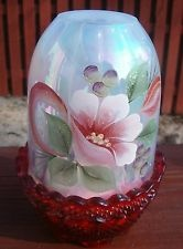 FENTON HAND PAINTED RIB OPTIC OPALESCENT & IRIDESCENT ART GLASS FAIRY LAMP