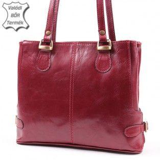 Bordó női bőr táska