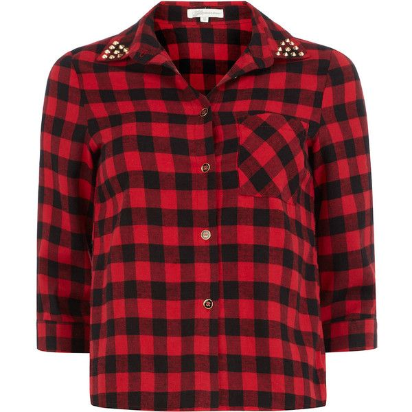 Red / black check stud shirt ($55) ❤ liked on Polyvore