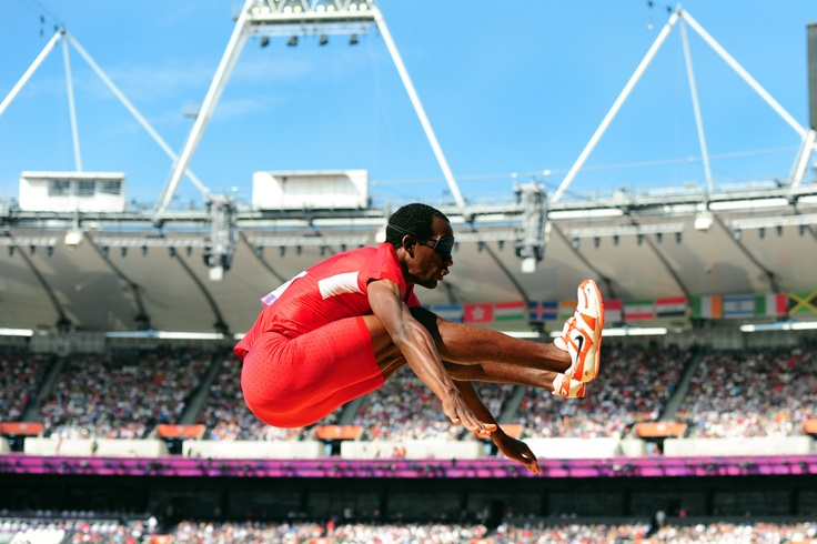MEDAL QUEST athlete Lex Gillette mid-air in the Long Jump at the London Paralympic Games. He went on to win silver in his event!