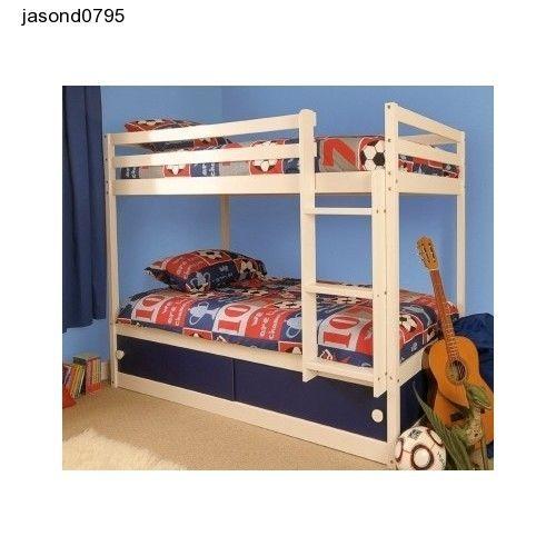 Boys Bunk Bed Slide Storage Wooden Blue Play Sliding Draws Mattresses Bedroom