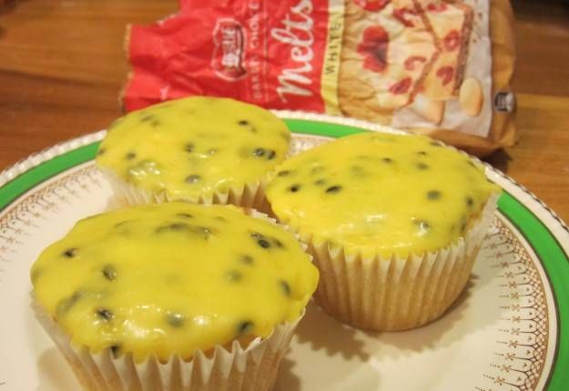 White chocolate & coconut cakes with white choc & passionfruit icing - Real Recipes from Mums