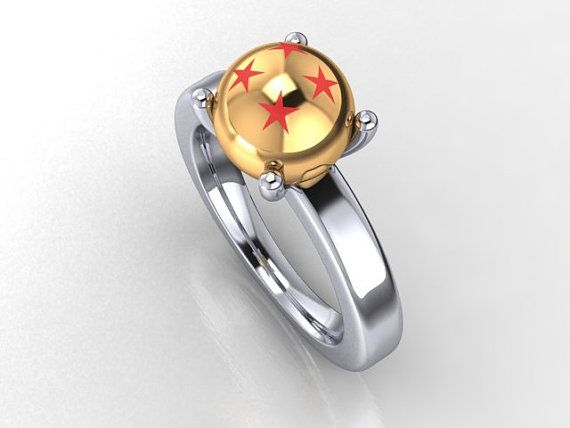 Large 9mm Powerball engagement ring in 14k yellow and white