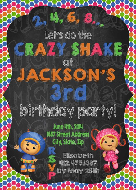 Team Umizoomi Birthday Invitation