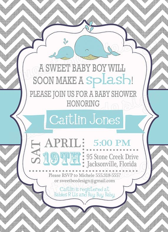 Whale Baby Shower Invitation Whale Baby by SweetBeeDesignShoppe