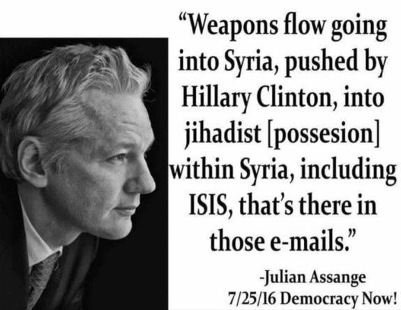 Julian Assange: Hacked Emails Include Info On Hillary's Arming of Jihadists, Including ISIS, in Syria