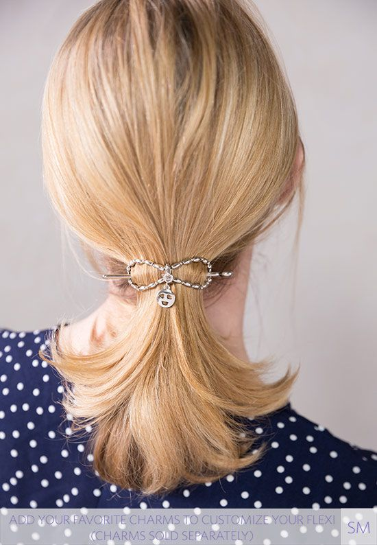 This is cute! Quick and easy ponytail hairstyle fastened with a beautiful hair clip. She ...