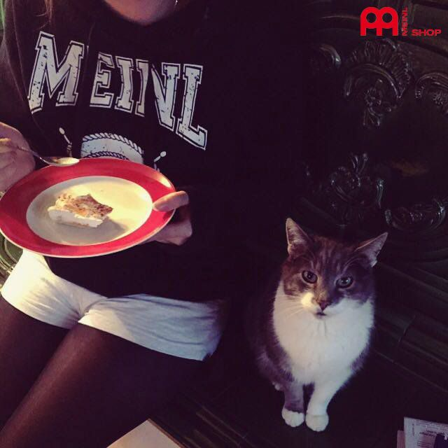 Sweety loves our Meinl Sweatshirt (M51) ... and the cat too !  #meinlshop #meinl #meinlcymbals #cat #sweetcat #meinlcollege #college #klamotten #clothes #pictureoftheday #potd #outfit #outfitoftheday #ootd #instafashion