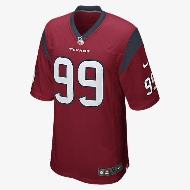 TEAM LOYALTY, EVERYDAY COMFORT Rep your favorite team and player anytime in the NFL Houston Texans Game Jersey, inspired by what they're wearing on the field and designed for total comfort. TAILORED FIT A tailored silhouette delivers a contoured, modern fit. LIGHT, SOFT FEEL Silicone print numbers offer lightweight durability. CLEAN COMFORT A tagless neck label provides streamlined comfort. Product Details Strategic ventilation for breathability Woven jock tag at front lower left TPU shield…