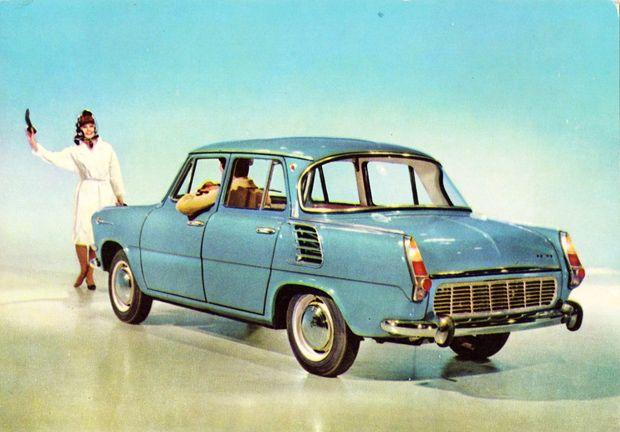 Skoda 1000 MB promotional postcard Czechoslovakia