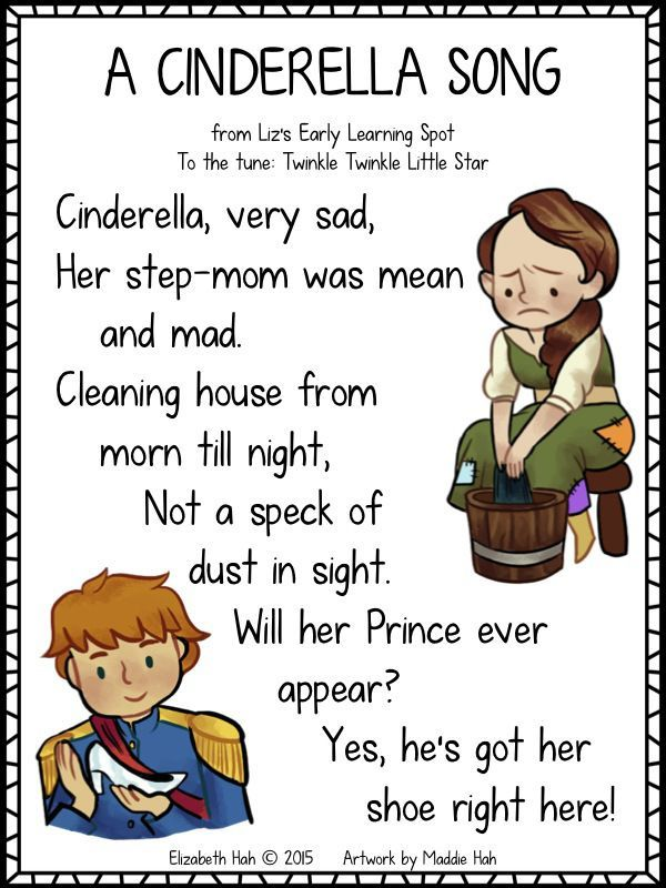 Download this free Cinderella song poster from Liz's Early Learning Spot! Sung to Twinkle Twinkle.