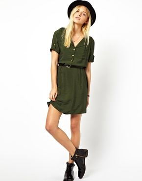 Image 4 of ASOS Shirt Dress With Military Detail And Belt