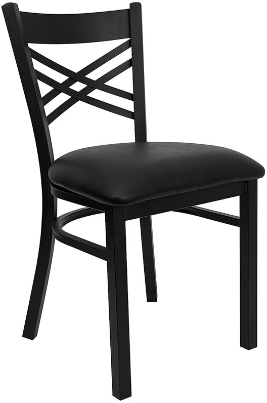 "HERCULES Black ""X"" Back Metal Restaurant Chair with Black Vinyl Seat"