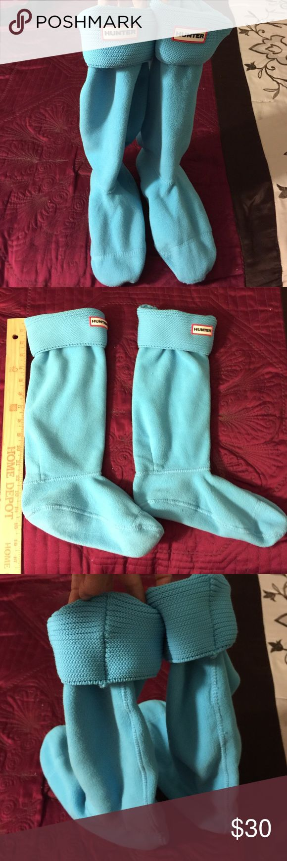 Blue hunter socks These are women's hunter socks. They were only used twice. I wear a size 7.5 and these fit me fine with my hunter rain boots I have the tall pair. Hunter Boots Shoes Winter & Rain Boots