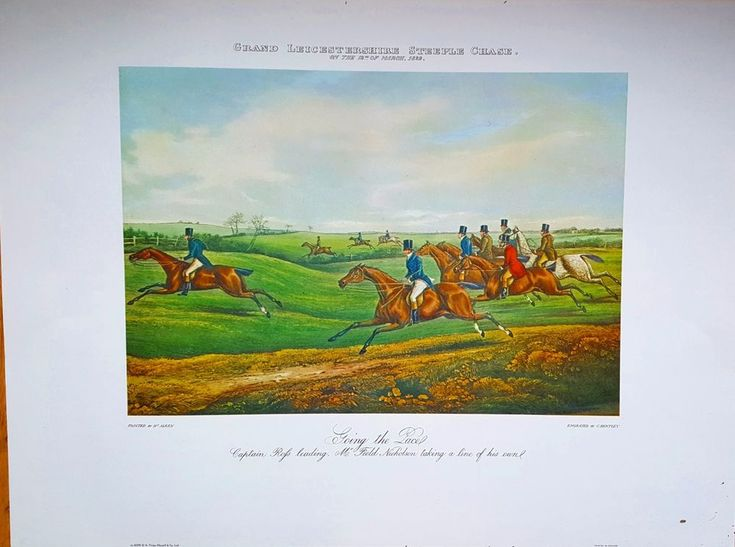 Large rare Vintage Leicestershire Steeple Chase Horse Racing Print Old Picture #Realism