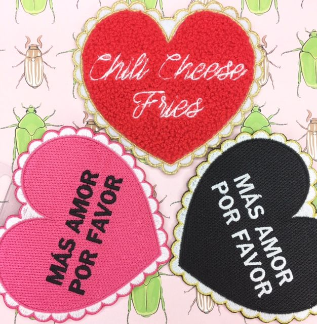 More Love Please! These heart patches are the perfect addition to your jean jacket, purse, backpack or hat! #patch #patches #accessories #patchgame #embroideredpatch #patchlife #accessories #style #patchgamestrong #heart #love #chilicheesefries #handmade