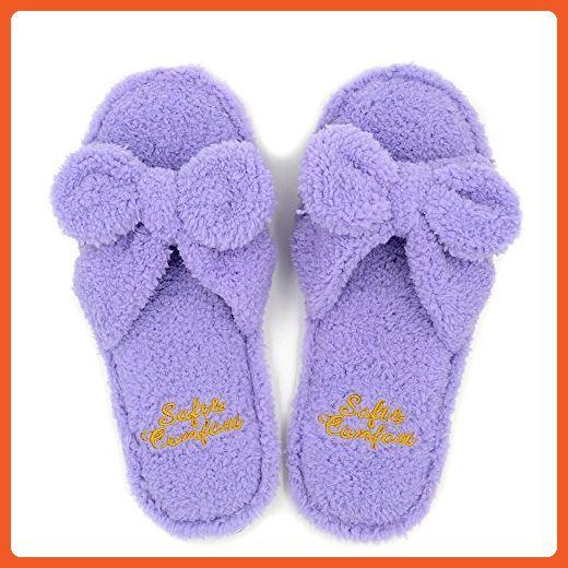 Millffy indoor cute female woman flip flop summer kawaii slipper shoes floor fluffy slippers (US 5/6, PURPLE) - Slippers for women (*Amazon Partner-Link)
